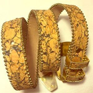 Part 2 BB SIMON tan cork brass buckle belt details